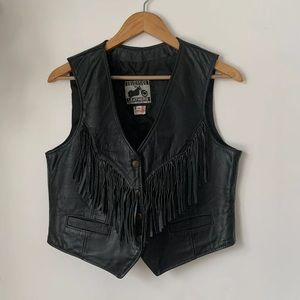 Vintage California Leather Fringe Biker Vest